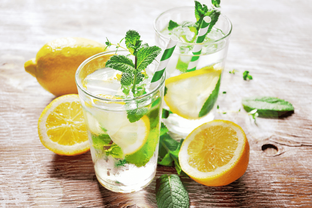 glass with water and lemons