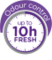 Up to 10 hour odour control